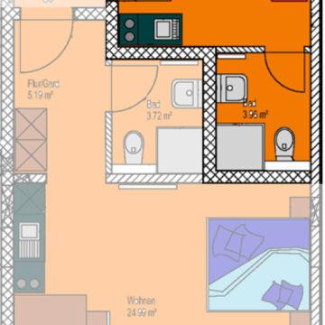 Ein-Zimmer-Appartement Hans